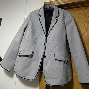 Talbots navy blue and white blazer